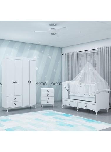 Garaj Home Garaj Home Sude Asansörlü Yıldız 4 Kapaklı Bebek Odası Takımı - Yatak Ve Uyku Seti Kombinli/ Uyku Seti Krem Krem